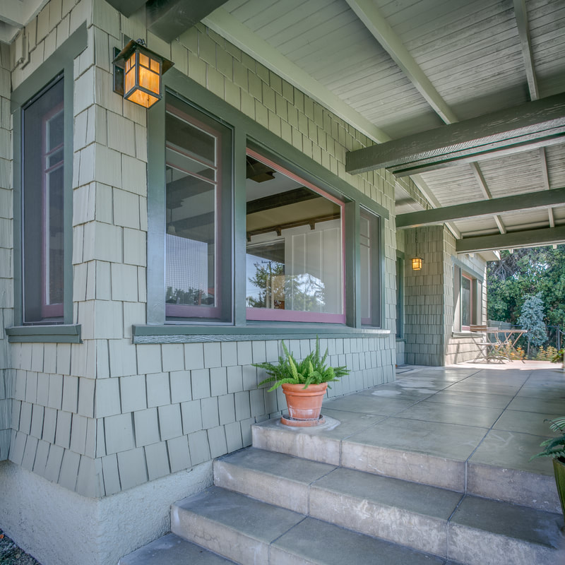 early 1900s Pasadena craftsman exterior in classic, yet modern, color palette