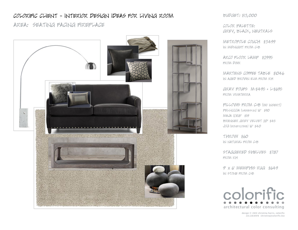 interior design mood board with individual costs and where to buy merchandise
